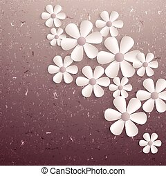 flowers., carta, sakura, 3d