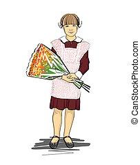 flowers., mazzolino, leva piedi, vestire, settembre, 1., vacanza, ragazza, scuola, uniform., pieno