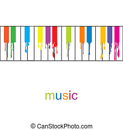 fluente, astratto, musica, colorato, poster., chiavi, pianoforte