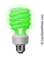 fluorescente, risparmi, verde, bulbo