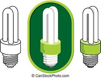fluorescente, vettore, lampadina