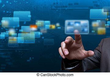 flusso continuo, schermo, tecnologia