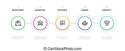 flusso, infographic., passo, affari, grafico, progetto, sagoma, bandiera, strategy., vettore, presentazione, informazioni, grafico, disegno, processo, workflow
