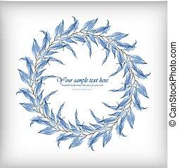 fogli azzurro, acquarello, vettore, cornice