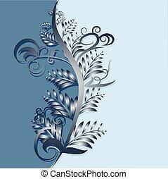 fogli azzurro, astratto, fondo, illustrazione