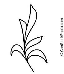 fogli, vettore, disegno, illustration., mano, ramo