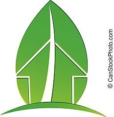 foglia, casa, ambientale, ecologico, vettore, logotipo