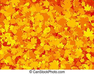 foglia, colorito, eps, autunno, fondo., riscaldare, 8