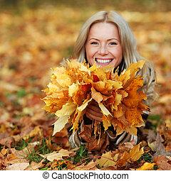 foglia, donna, portret, autunno