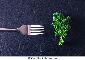 foglia, forchetta, verdura, verde, isolato, pietra