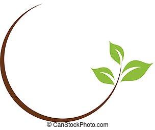 foglia, logotipo, organico