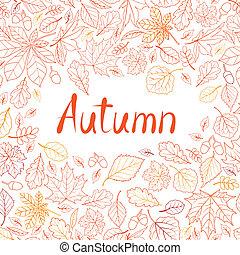 foglia, natura, foglie, pattern., seamless, autunno, fondo., mare, cadere