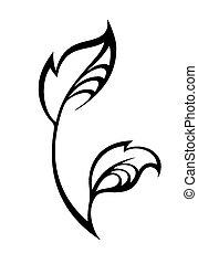 foglia, primavera, stilizzato, silhouette