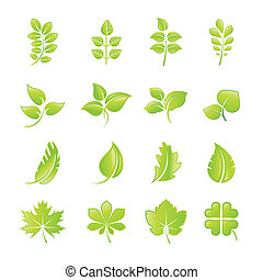 foglia, set, icone, verde