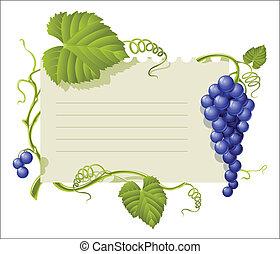 foglia, vendemmia, cornice, gruppo, uve bianche