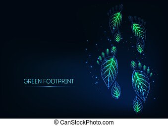 foglie, ardendo, verde, polygonal, ecologico, ingombri, blu, fondo., scuro, basso, fatto, futuristico