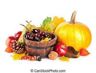 foglie, autunnale, giallo, frutte, raccogliere, verdura