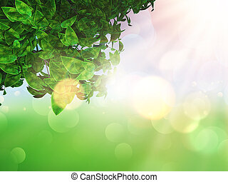 foglie, defocussed, soleggiato, fondo, 3d
