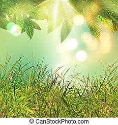 foglie, erba, fondo, 3d