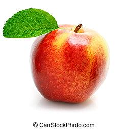 foglie, frutta, mela verde, rosso