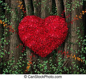 foglie, giorno valentines, rosso