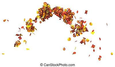 foglie, isolato, illustrazione, autunno, fondo, bianco, 3d
