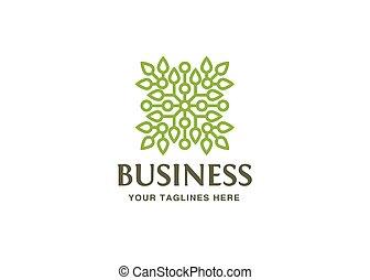 foglie, logotipo, verde, tecnologia