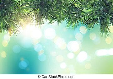 foglie, luci albero, bokeh, defocussed, palma, fondo, 3d