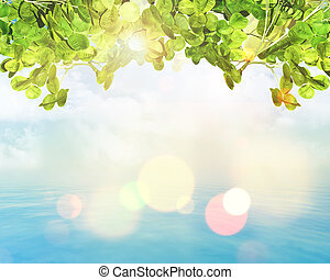 foglie, luci, bokeh, sfondo verde, 3d