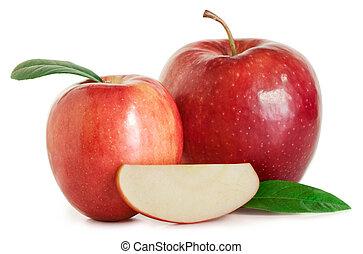 foglie, mezzo, mela, mele