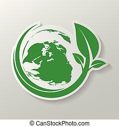 foglie, nature., terra, vettore, ecologia, verde, illustration., concetto
