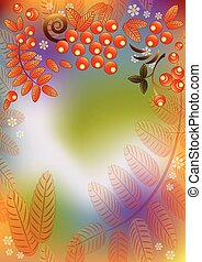 foglie, seamless, autunno, rowan, fondo, bacche