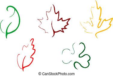 foglie, set, icone