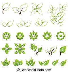 foglie, set, verde, fiori