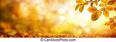 foglie, shimmering, fondo, autunno, sfocato