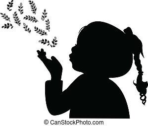 foglie, soffiando, silhoue, bambino, fuori