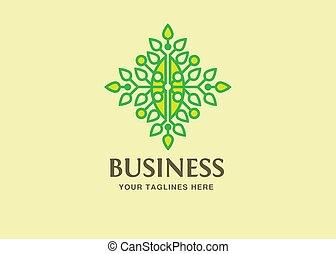 foglie, tecnologia, verde, logotipo