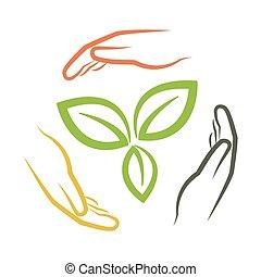 foglie, verde, intorno, mani