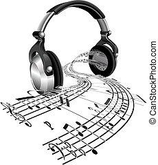 foglio, note, concetto, musica, cuffie