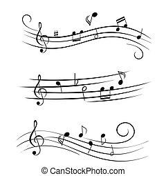 foglio, note, musica, musicale