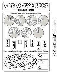 foglio, pizza, attività, tema, 1