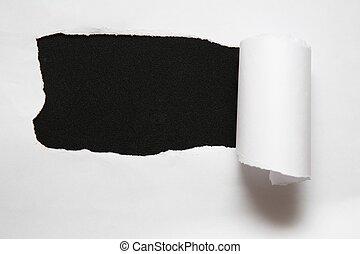 foglio, strappato, contro, carta, sfondo nero