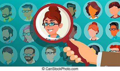 folla., affari, candidato, fuori, person., team., illustrazione, mano, reclutamento, choice., stare in piedi, umano, cogliere, scegliere, datore lavoro, woman., cartone animato, selezionare, vector.