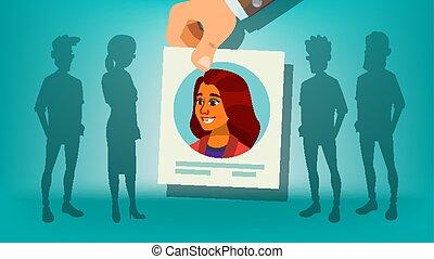 folla., affari, candidato, person., team., illustrazione, mano, reclutamento, choice., stare in piedi, umano, scegliere, datore lavoro, fuori, woman., cartone animato, vector.