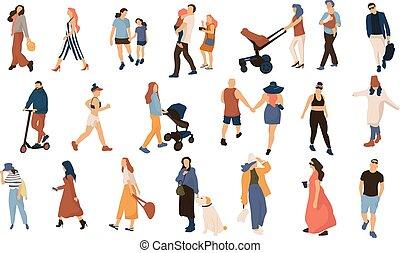 folla., camminare, folla, esterno, persone, collection., moderno, couples, persone, vettore, estate, uomini, trendy, cartone animato, donne