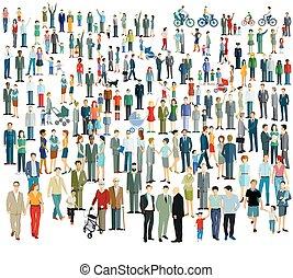 folla, differente, people.eps, grande