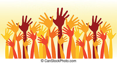 folla, felice, enorme, hands.