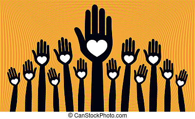 folla, grande, persone., amare