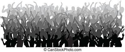 folla, grande, persone, ballo