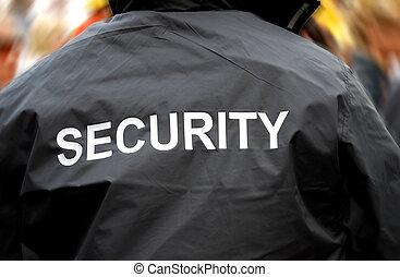 folla, indietro, sfocato, guardia, fronte, sicurezza